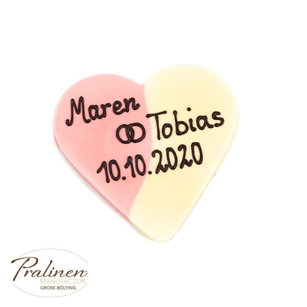Schokolade mit Wunschtext, Beschriftung, personalisierte Schokolade, Erdbeer-Sahne Herz aus Schokolade mit Beschriftung