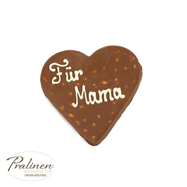 Nuss-an-Nuss Herz aus Schokolade mit Wunschtext, Beschriftung, personalisierte Schokolade