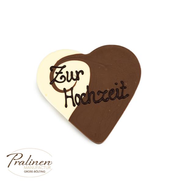 Schokolade mit Wunschtext, Beschriftung, personalisierte Schokolade, Caffe-Latte Herz aus Schokolade mit Beschriftung