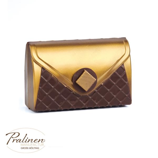 Goldene Handtasche aus Schokolade, Schokoladen Tasche, Accessoires Schokofiguren,