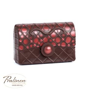 Schokoladenfiguren, Rote Handtasche aus Schokolade, Schokoladen Tasche, Accessoires Schokofiguren,