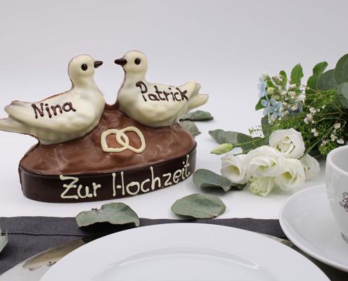 Hochzeitstauben, Dekoration Hochzeiten, Tortendeko, Taubenpaar aus Schokolade, Tauben für Torte, individuell beschriften Hochzeit